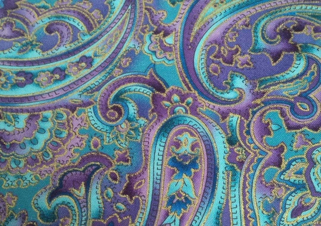 Purple-Blue-Gold Paisley