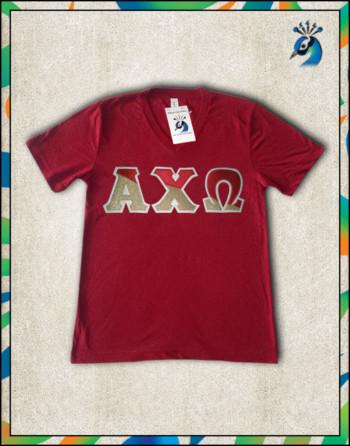 Diagonal Letters V-Neck Short Sleeve T-Shirt