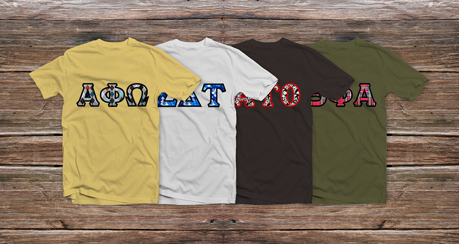 f043e67e Home•Blog•Custom Embroidered Sorority Shirts and Fraternity Shirts.  Previous Next · View Larger Image Four T-Shirts Mockup